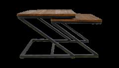 Table basse Taylor - 55x55 cm - naturel / noir - ensemble de 2