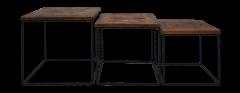 Set de table basse Austin - bois / fer Java recyclé - ensemble de 3