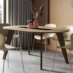 Table à manger Lago 180x100 - noyer/marbre noir