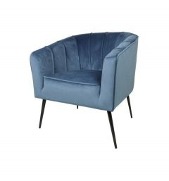 Fauteuil Chester - velours - bleu acier