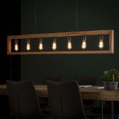 Lampe suspendue 7L cadre en bois modulo - Massif acacia naturel