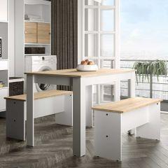 Table à manger Nice avec bancs - blanc/chêne