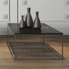 Table basse Gleam 120x75 - marbre noir/chrome