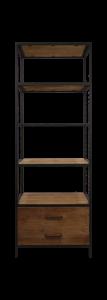 Armoire ouverte à 2 tiroirs - teck / fer