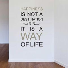 Sticker mural Happiness avec citation