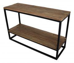 Table d'appoint avec plateau inférieur - vieux bois / fer