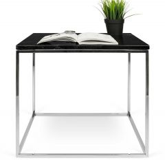 Table d'appoint Gleam 50x50 - marbre noir/chrome