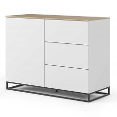 Bahut Join 120cm avec piètement en métal, 1 porte et 3 tiroirs - blanc mat/chêne