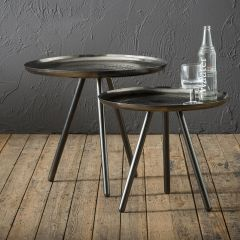 Set de 2 tables d'appoint Kiara - acier noir