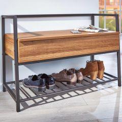 Banc à chaussures Shoeplace - noir/chêne