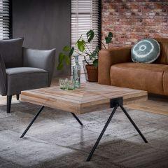 Table de salon Teca balance 80x80 - Teck usé