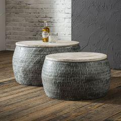 Table de salon ensemble jeux de 2 Ø50 - Ø60cm en acier et mango massif - Lot de 2 - Gris