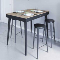 Table de bar Horizon - chêne/noir