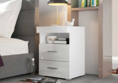 Table de chevet Bedside 2 tiroirs - blanc brillant