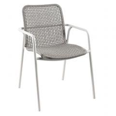 Chaise de jardin Dina - blanc/gris clair