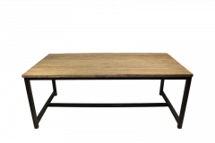 Table de repas Hunter - 250x100 cm - teck / fer recyclé
