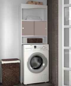 Meuble pour machine à laver Wave - blanc/taupe