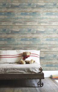 Papier peint adhésif Distressed Wood - bleu