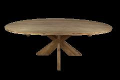 Table de repas ovale avec pied entrejambe - 240x120 cm - naturel - teck