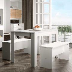 Table à manger Nice avec bancs - blanc/marbre
