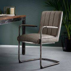 Chaise rayé pietement luge - Lot de 2 - Wax PU Taupe