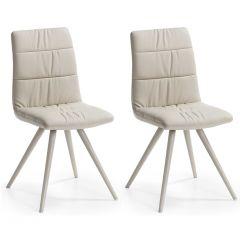 Lot de 2 chaises salle à manger Larina modèle 2 - beige