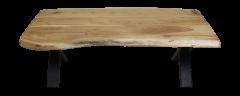Table basse SoHo - 120 cm - acacia / fer - revêtement époxy noir