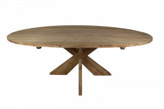 Table de repas ovale avec pied entrejambe - 220x110 cm - naturel - teck
