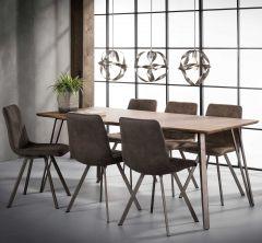 Table à manger 190 cadre en V - 3D Chêne en lavage brun