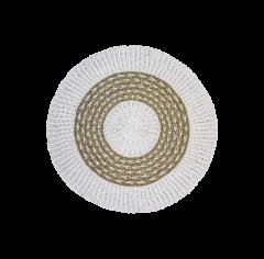Tapis - ø150 cm - raphia / grass - blanc / naturel