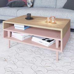 Table basse Horizon - chêne/rose