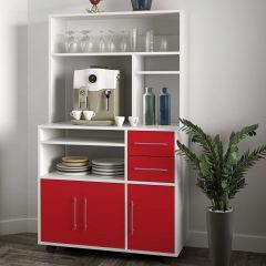 Armoire de cuisine Cesar pour four à micro-ondes - blanc/rouge