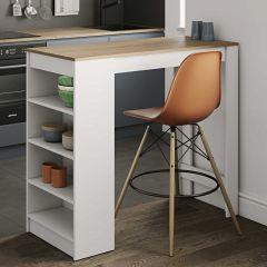 Table de bar Aravis - blanc/chêne