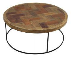 Table basse mosaïque - ø80 cm - teck / fer