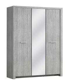 Armoire Heaven 160cm avec 3 portes & miroir - chêne gris