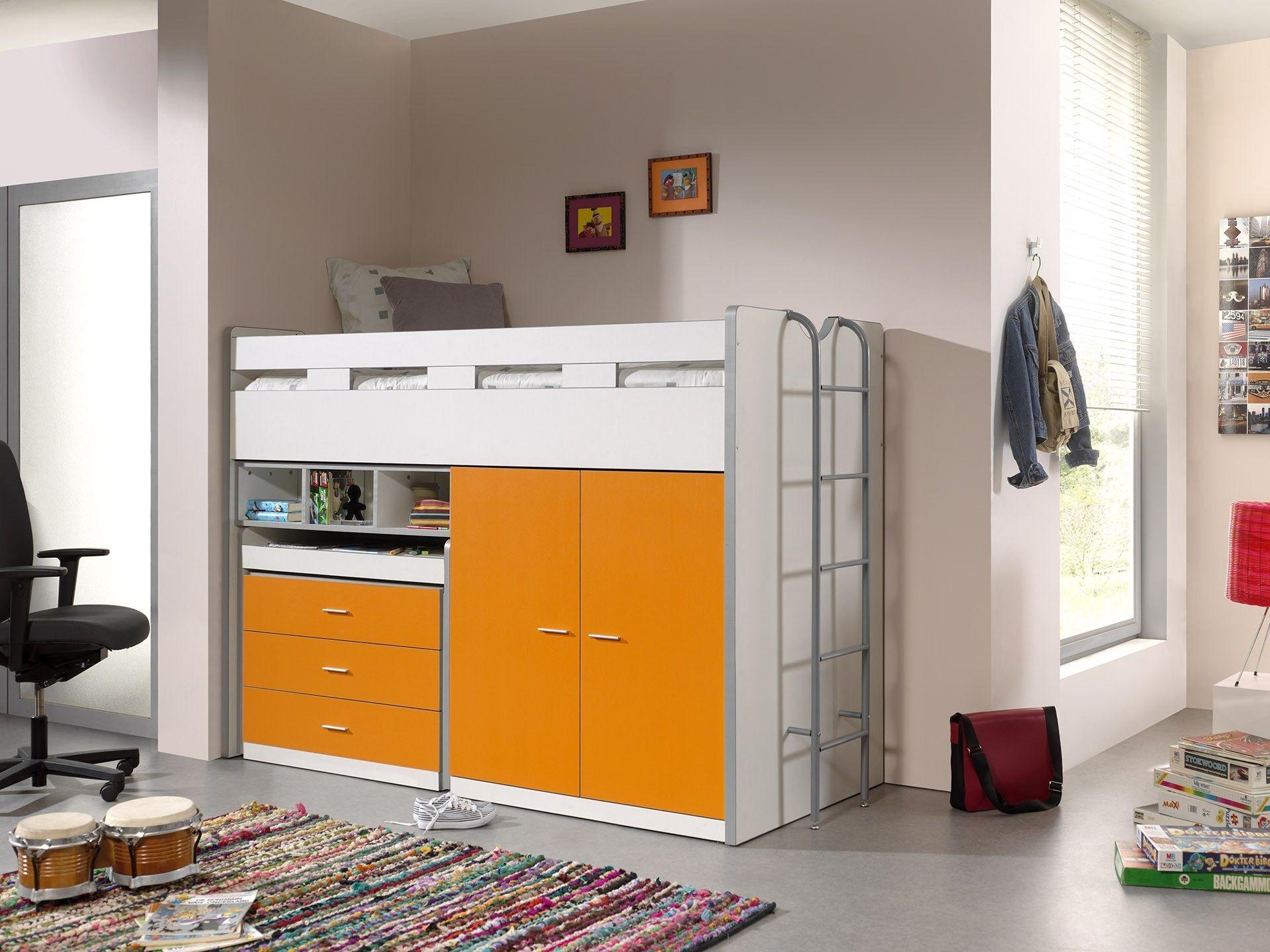 Lit Mi Hauteur Bonny 70 Avec Bureau Commode Et Armoire Orange