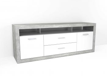 Meuble tv Turbo 3 tiroirs - béton/blanc brillant