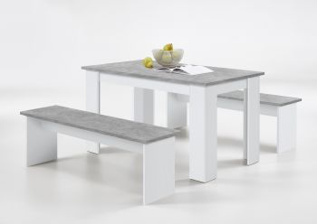 Ensemble table + 2 bancs Mundo - béton/blanc