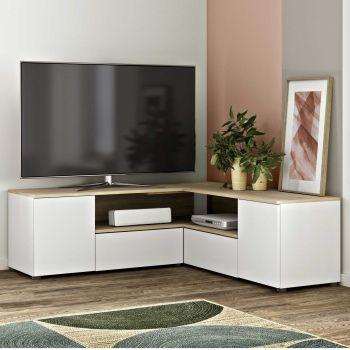 Meuble TV Cleo - blanc/chêne