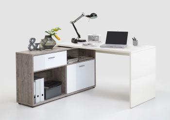 Bureau d'angle Diego - blanc brillant/chêne gris