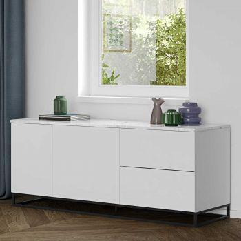 Bahut Join 160cm avec piètement en métal, 2 portes et 2 tiroirs - blanc mat/marbre blanc