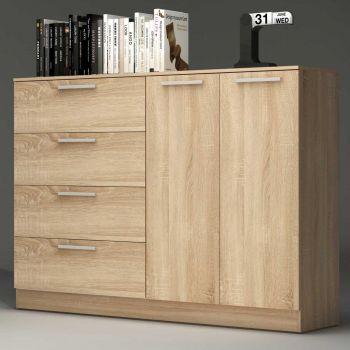 Commode Ramos 4 tiroirs & 2 portes - chêne