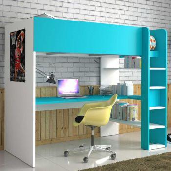 Lit mezzanine Beau avec bureau - blanc/bleu