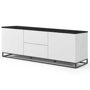 Bahut Join 180cm avec piètement en métal, 2 portes et 2 tiroirs - blanc mat/marbre noir