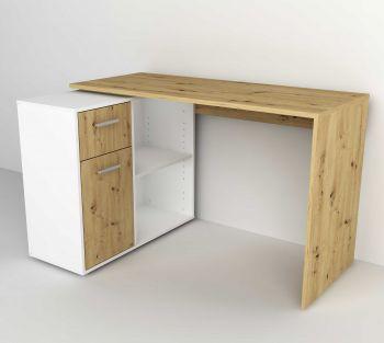 Bureau d'angle Albrecht - chêne artisan/blanc