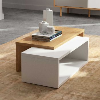 Table basse Jazzy - blanc/chêne