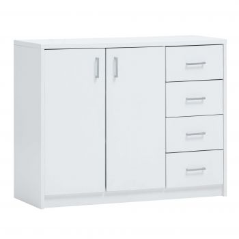 Commode Spacio 2 portes & 4 tiroirs H 84cm - blanc