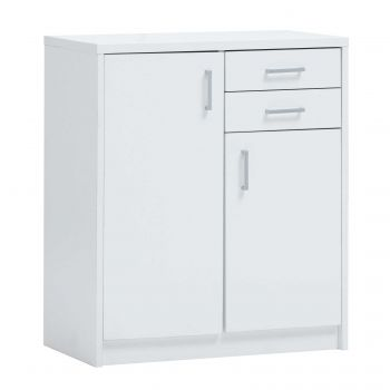 Commode Spacio 2 portes & 2 tiroirs H 84cm - blanc