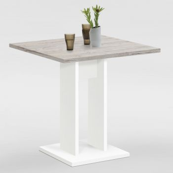 Table à manger Brandon 70x70 - blanc/chêne gris