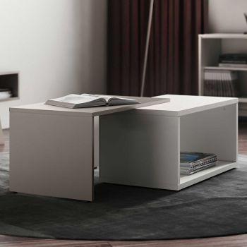 Table basse Box - blanc/taupe